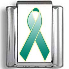 Green Awareness Ribbon Photo Charm