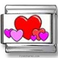 Pink and Red Hearts Photo Charm